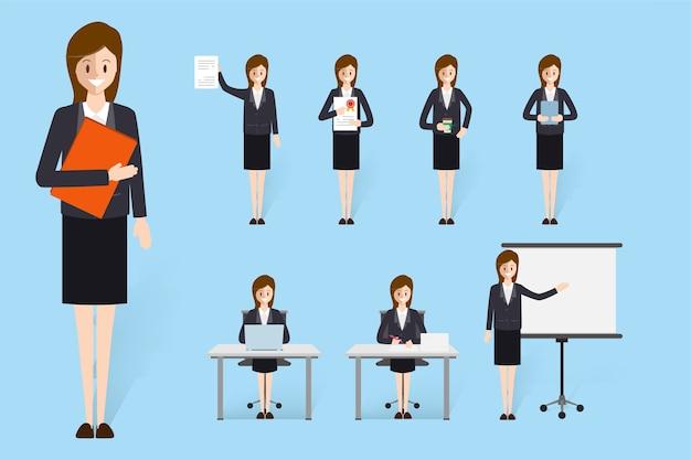 Geschäftsfraucharakter im job am büroangestellten.