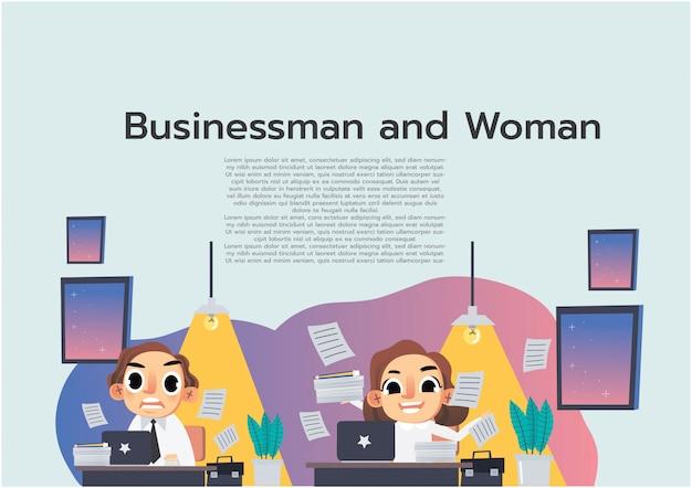 Geschäftsfraucharakter mit seinem arbeitssatz