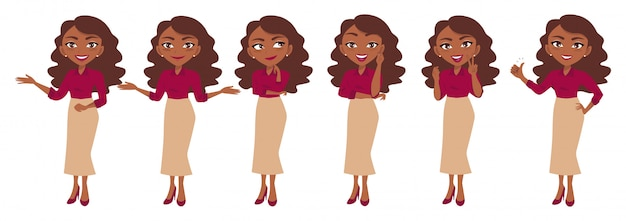 Geschäftsfraucharakter oder geschäftsfraukarikatur in den verschiedenen haltungen eingestellt