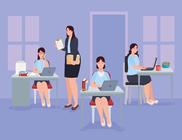 Geschäftsfrauen am arbeitsplatz