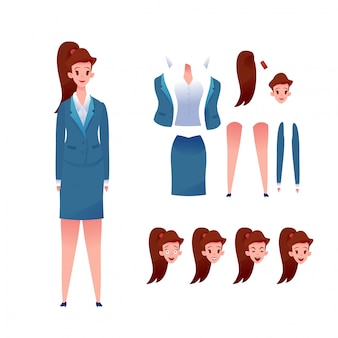 Geschäftsfrauen-animationsset. junges mädchen im anzug verschiedene gesichtsgefühle. kit zur erstellung von managerinnen. büroangestellter.