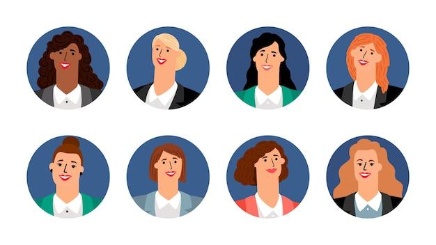 Geschäftsfrauen-avatare. lächelnde weibliche gesichter. vektor runde banner mit mädchen