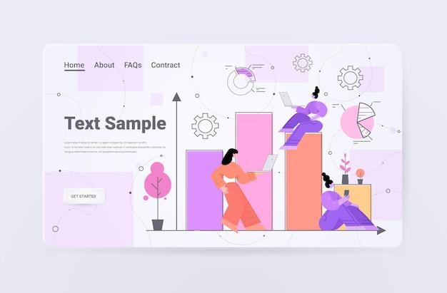 Geschäftsfrauen, die die landingpage von diagrammen und grafiken analysieren