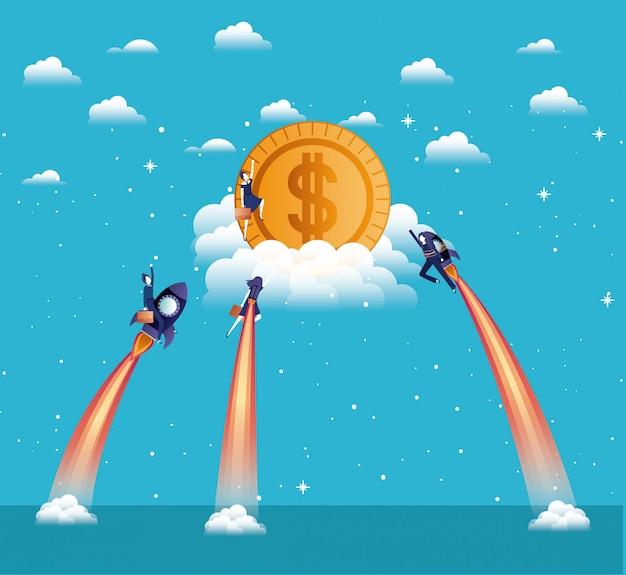 Geschäftsfrauen, die in raketen fliegen, beginnen mit münzen