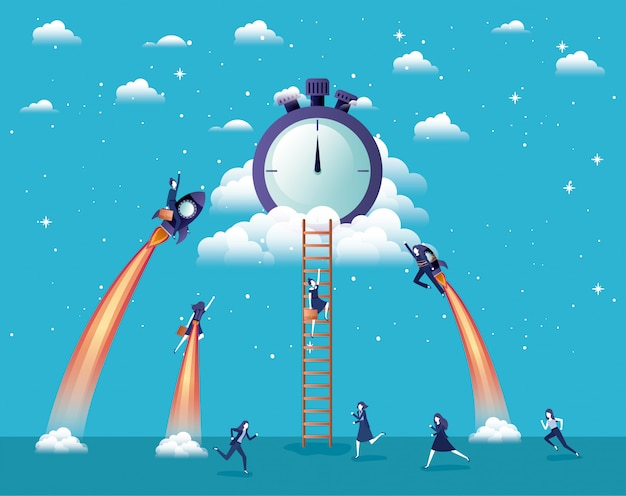 Geschäftsfrauen, die in raketen fliegen, starten mit chronometer