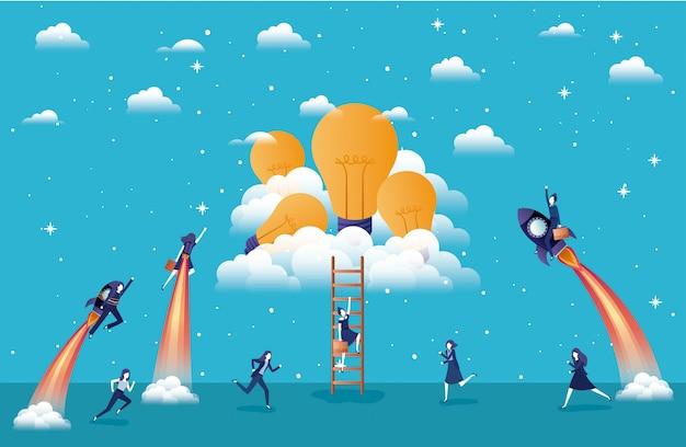 Geschäftsfrauen, die in raketen fliegen, starten mit glühbirnen