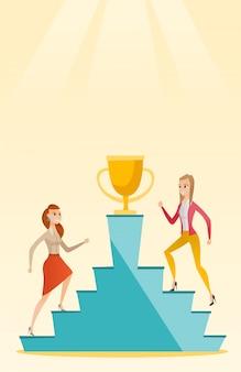 Geschäftsfrauen, die um den geschäftspreis konkurrieren.