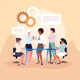 Geschäftsfrauen im arbeitsbüro, sitzung über globale planungs- und marktforschung