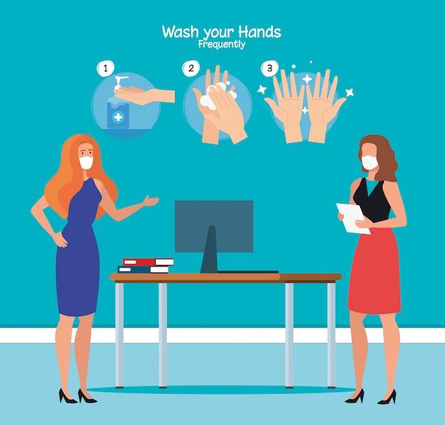 Geschäftsfrauen im büro und hände waschen schritte