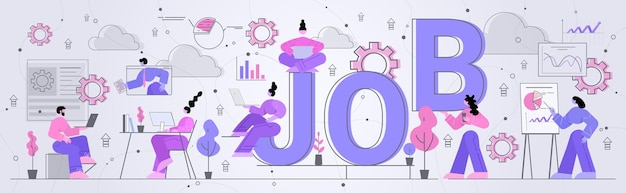 Geschäftsfrauen in der nähe von job word arbeitsprozess erfolgreiches teamwork-konzept horizontale illustration in voller länge