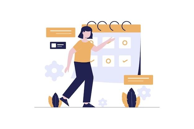 Geschäftsfrauen mit flachem illustrationsdesign des zeitplans