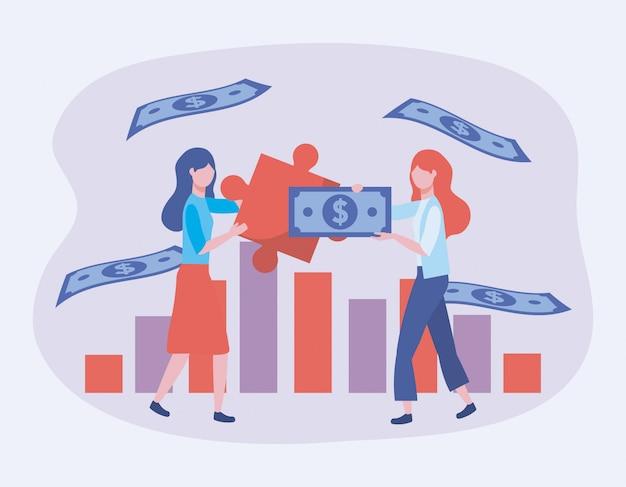 Geschäftsfrauen mit puzzlespiel und rechnungen mit stratistikstange