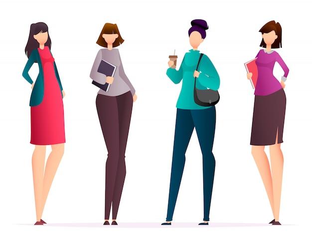Geschäftsfrauen, satz von vier haltungen