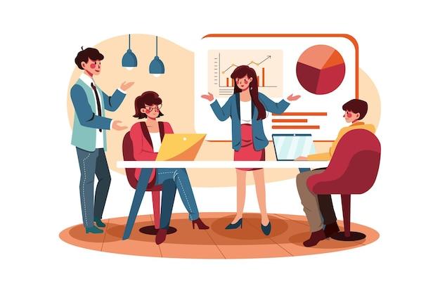 Geschäftsfrauen stellen kunden neue projekte vor
