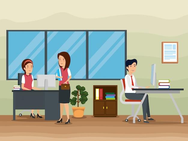 Geschäftsfrauen und geschäftsmann im büro