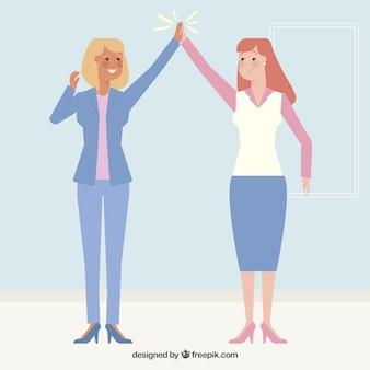 Geschäftsfrauen zeichen hohe fünf geste