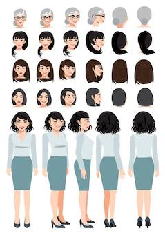Geschäftsfrauenzeichentrickfilm-figur in grünem pastellhemd und -rock und unterschiedlicher frisur für animationsdesignvektorsammlung