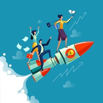 Geschäftsfraufliegen auf raketengeschäftskonzept