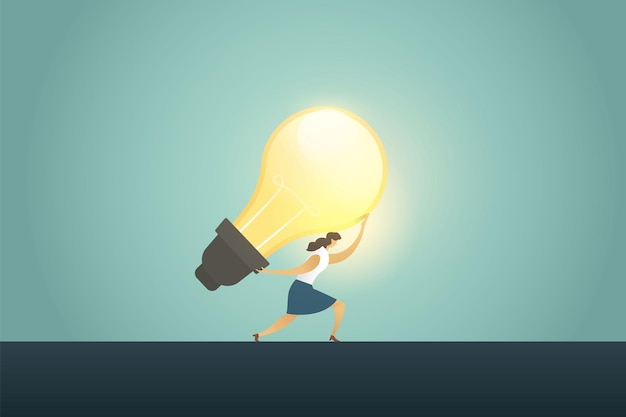 Geschäftsfrauführer, der große ideenbirne hält kreativitätserfolg. abbildung vektor