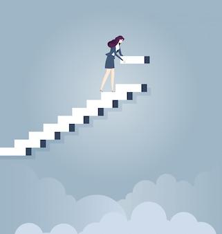 Geschäftsfraugebäudeschritte für ihre unternehmenskarriere