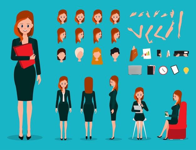 Geschäftsfraukarikatur, die charakter erstellt
