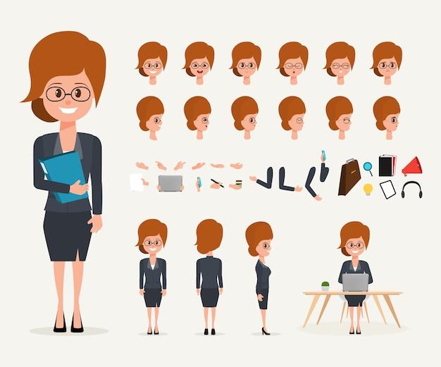 Geschäftsfraukarikatur, die charakter im job schafft
