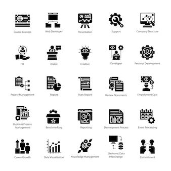 Geschäftsführung glyphe icons pack
