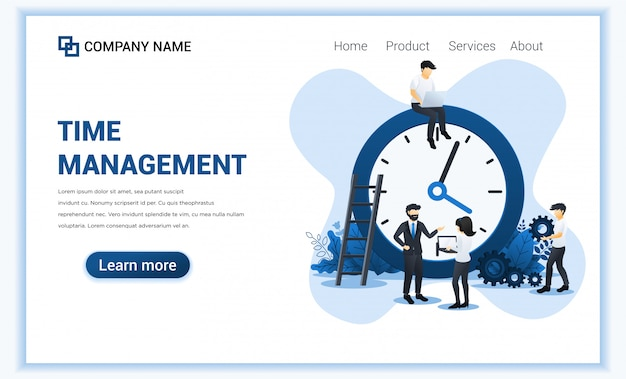 Geschäftsführung mit den leuten, die einen zeitplan planen. zeitmanagement, zeit sparen.