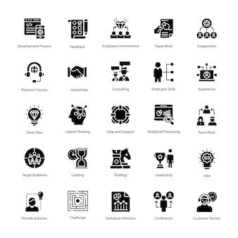 Geschäftsführungs-vektor-ikonen-satz