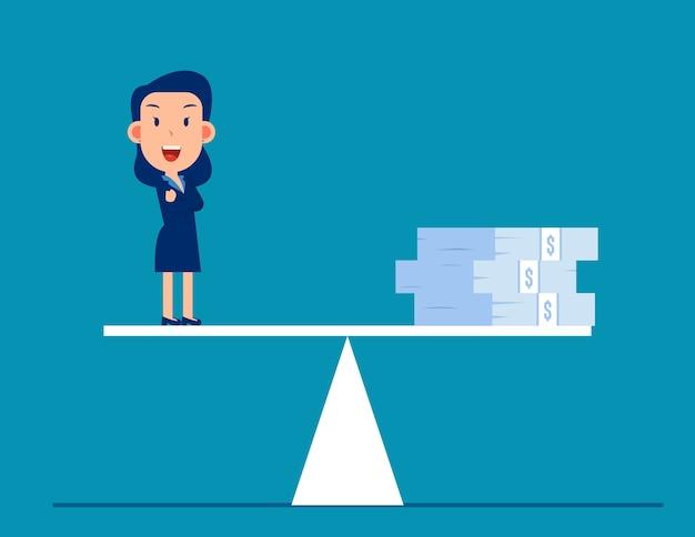 Geschäftsgeld in der waage Premium Vektoren