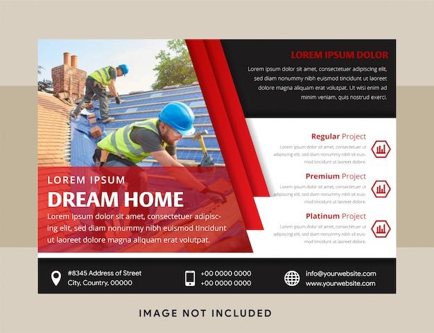 Geschäftsgestaltungselemente für grafisches layout des horizontalen flyers. moderne abstrakte hintergrundschablone mit flachen roten diagonalen geometrischen formen im sauberen minimalen stil. platz für foto.