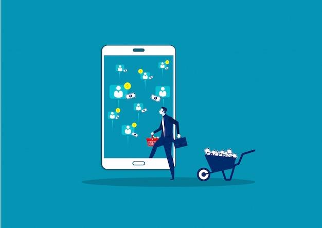 Geschäftsgewinn aus online-verkauf auf smartphone
