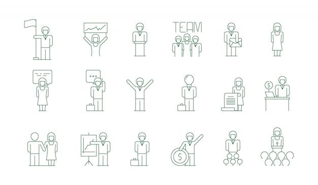 Geschäftsgruppe symbol. büroarbeitleute-teamsitzungsfreiberufler, der die dünnen symbole des kollegenkommunikationsvektors lokalisiert sozialisiert