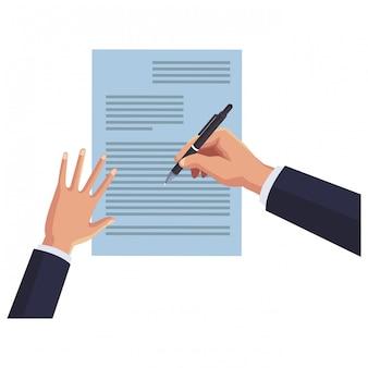 Geschäftshände, die auf dokument schreiben