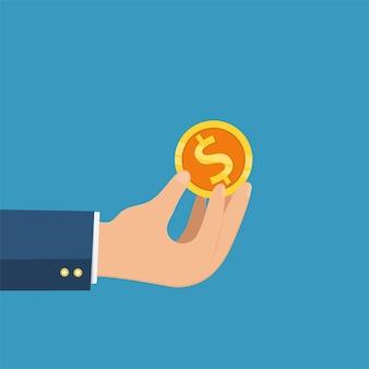 Geschäftshand, die goldmünze und pfundikonenvektor, geschäftskonzept hält.