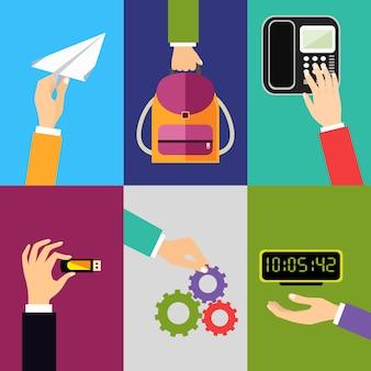 Geschäftshandzeichengestaltungselemente des haltens des rührenden telefons des flachen papierrucksacks lokalisierten vektorillustration
