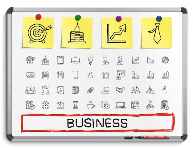 Geschäftshandzeichnungsliniensymbole. gekritzel-piktogrammsatz, skizzenillustration auf weißer markierungstafel mit papieraufklebern. finanzen, geld, analytik