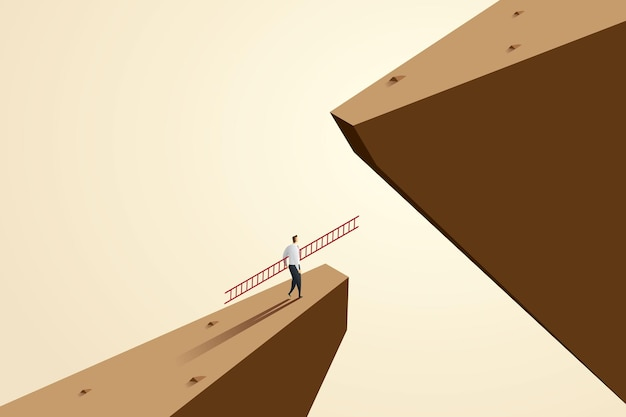 Geschäftsherausforderung geschäftsleute benutzen leitern, um über lücken zu klettern