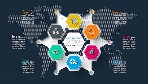 Geschäftshexagonaufkleberform infographic auf kreis.