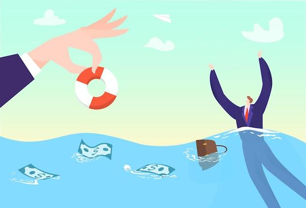 Geschäftshilfe für sinkenden mann, retten geschäftsmannkrise in seekonzeptillustration