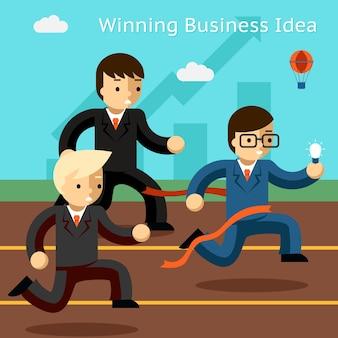 Geschäftsidee gewinnen. erfolg im innovationslauf. gewinnen sie führung, führer und leistung, führen sie geschäftsmann, vektorillustration