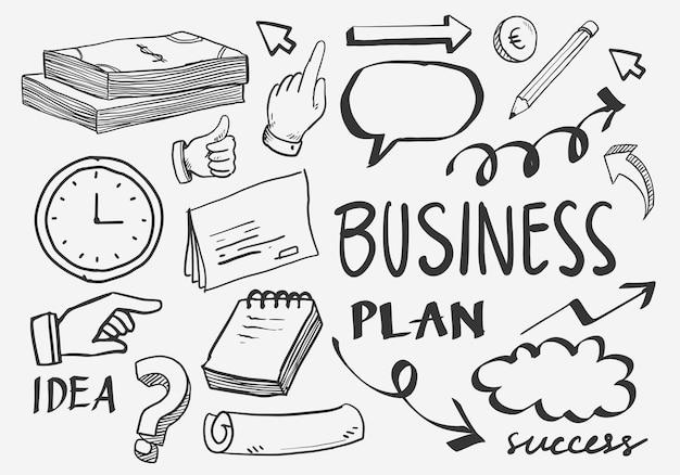 Geschäftsidee kritzelt symbole gesetzt. vektor-illustration. isoliert auf weißem hintergrund.