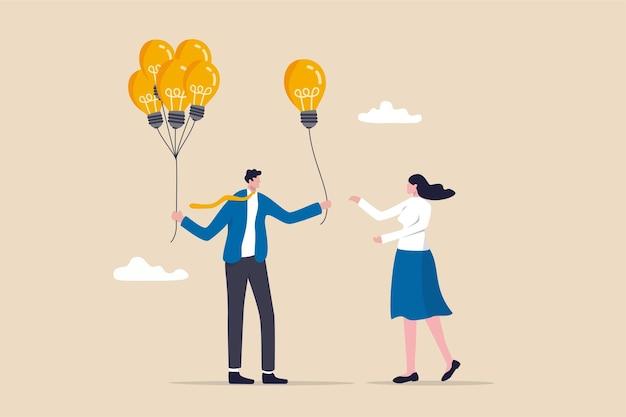 Geschäftsidee oder lösungsangebot, mentor geben einen rat, lösung zur lösung von geschäftsproblemen oder helfen beim teilen von kreativitätsideenkonzepten, intelligenter geschäftsmann, der jungen mitarbeitern eine glühbirnenidee gibt.