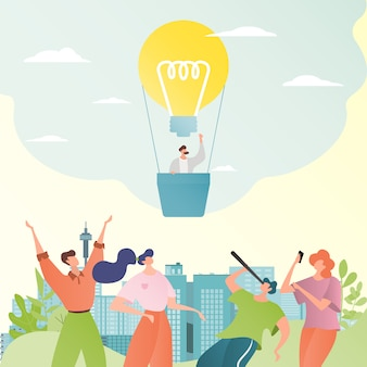 Geschäftsideenillustration. geschäftsleute betrachten glühbirne als heißluftballon. geschäftsmann mit teleskop.