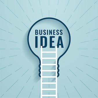 Geschäftsideenkonzept mit leiter und glühbirne