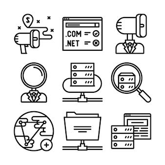 Geschäftsikonen eingestellt. symbole für business, management, finanzen, strategie,