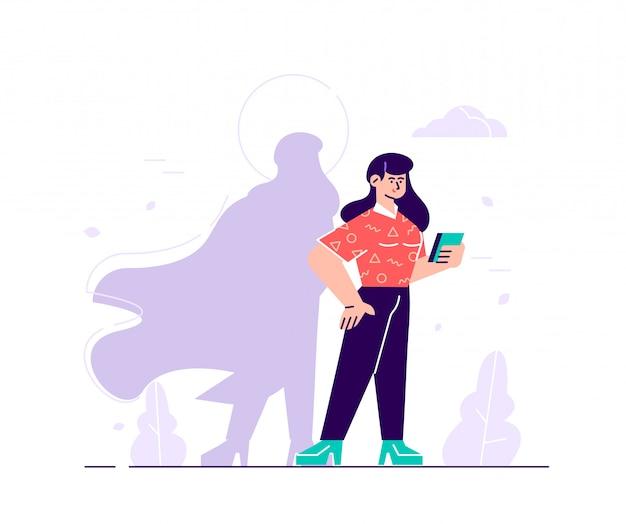 Geschäftsillustration, frau mit superheldenschatten, symbol der ehrgeizigen motivationsführung. flache art moderne designillustration für webseite, karten, plakat, soziale medien.