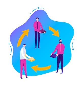 Geschäftsillustration, stilisierte zeichen. sharing economy-konzept, banner. illustration mit flüssigem hintergrund. männer teilen ressourcen, geschäftliche zusammenarbeit