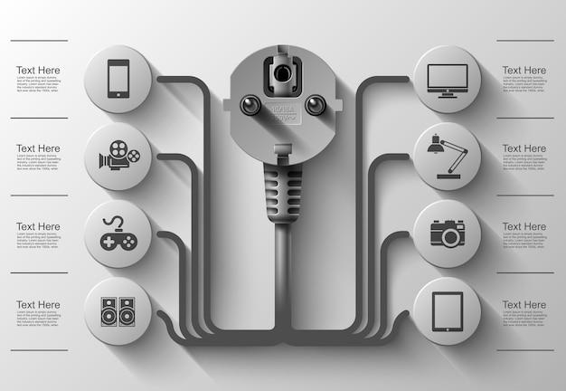Geschäftsinfo-grafiken, elektrischer stecker, quadrat mit informationssektoren unter, illustration