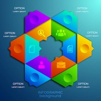 Geschäftsinfografik-designkonzept mit sechs optionen und symbolen des bunten sechseckigen diagramms